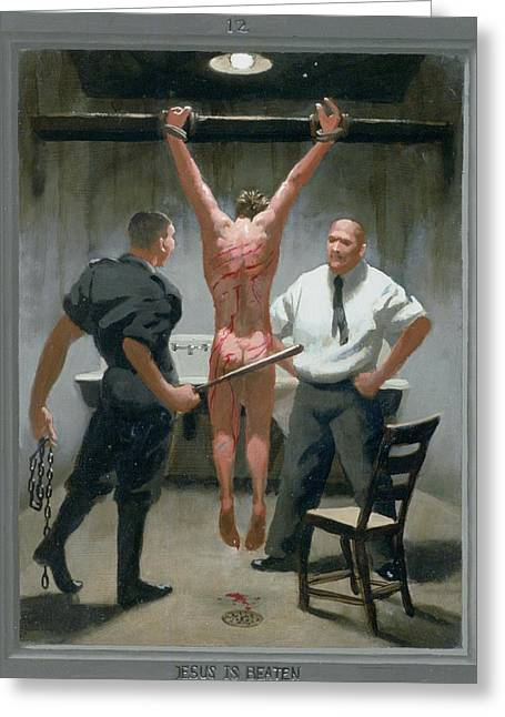 Recently Sold -  - Holy Week Greeting Cards - 12. Jesus Is Beaten / from The Passion of Christ - A Gay Vision Greeting Card by Douglas Blanchard