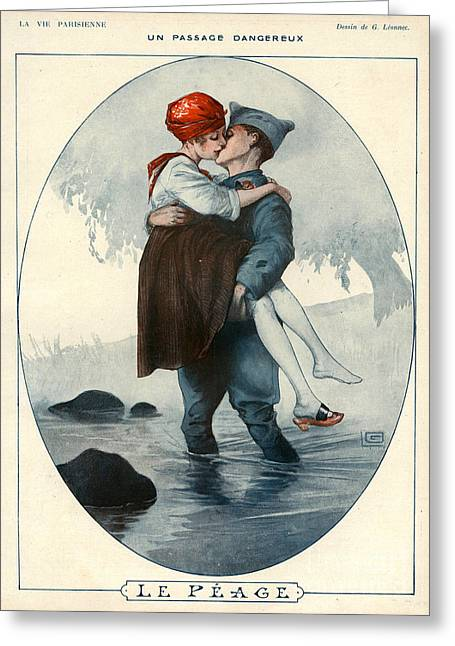 First Love Drawings Greeting Cards - La Vie Parisienne 1918 1910s France Greeting Card by The Advertising Archives