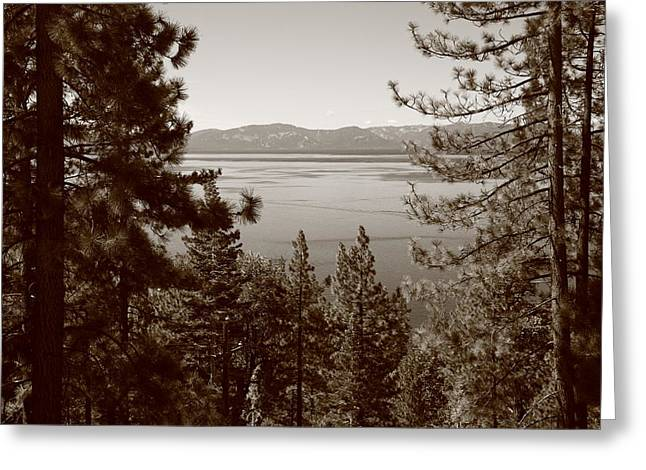 Skiing Poster Greeting Cards - Lake Tahoe Greeting Card by Frank Romeo