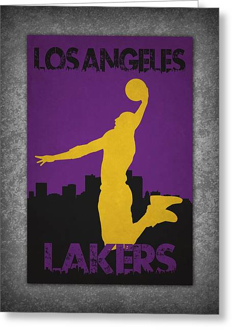 Los Angeles Lakers Greeting Cards - Los Angeles Lakers Greeting Card by Joe Hamilton