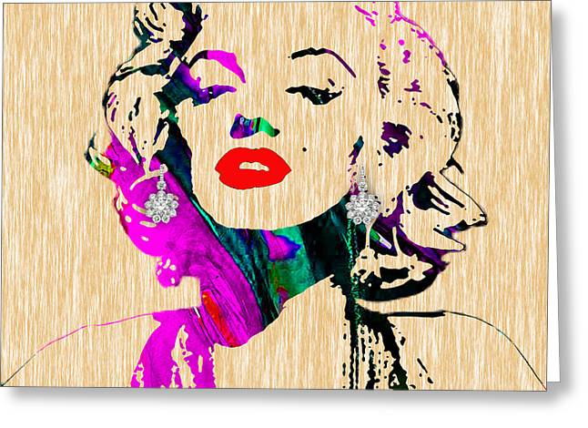Monroe Greeting Cards - Marilyn Monroe Diamond Earring Collection Greeting Card by Marvin Blaine