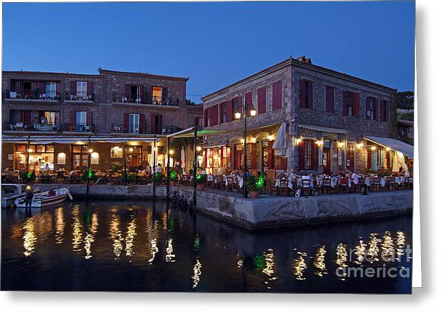 Town Greeting Cards - Molyvos village during dusk time Greeting Card by George Atsametakis
