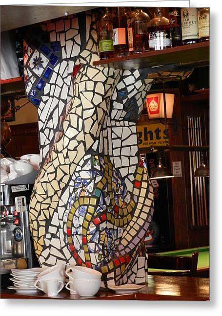 Mosaic Pillar Ceramics Greeting Cards - Mosaic Pillar Greeting Card by Charles Lucas