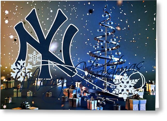 Baseball Field Greeting Cards - New York Yankees Greeting Card by Joe Hamilton