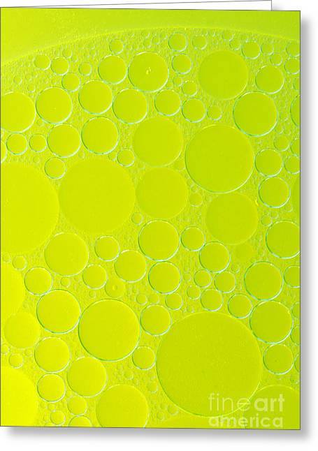 Olive Green Greeting Cards - Oil Drops On The Water Greeting Card by Odon Czintos