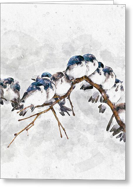 Sized Mixed Media Greeting Cards - 12 On A Twig Greeting Card by Marian Voicu