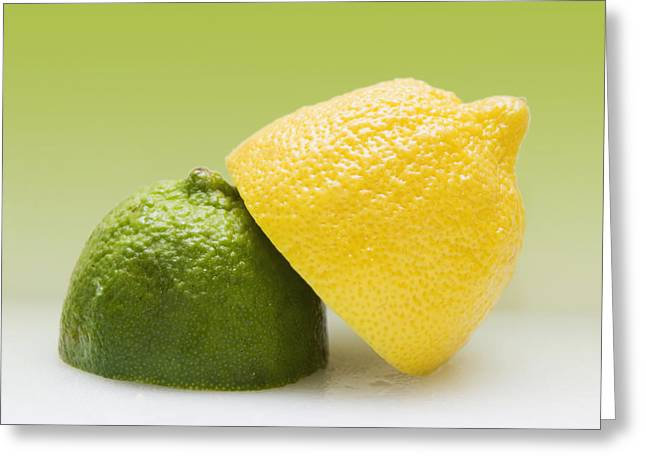 Descriptors Greeting Cards - 12 Organic Lemon And 12 Lime Greeting Card by Marlene Ford