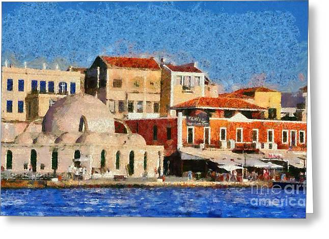 Town Greeting Cards - Painting of the old port of Chania Greeting Card by George Atsametakis