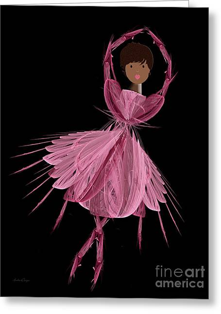 Pink Tutu Skirt Greeting Cards - 12 Pink Ballerina Greeting Card by Andee Design