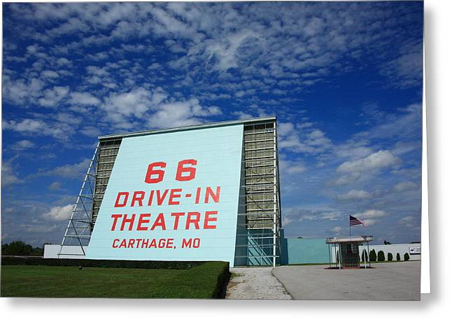 Drive In Theatre Greeting Cards - Route 66 Drive-In Theatre Greeting Card by Frank Romeo