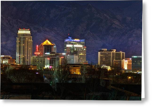 Snowy Night Night Greeting Cards - Salt Lake City Utah Greeting Card by Utah Images