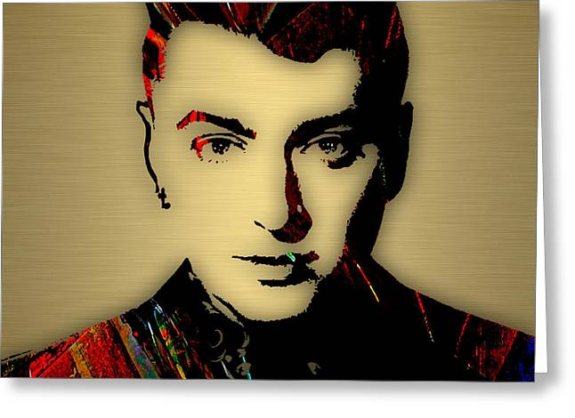 British Celebrities Greeting Cards - Sam Smith Collection Greeting Card by Marvin Blaine