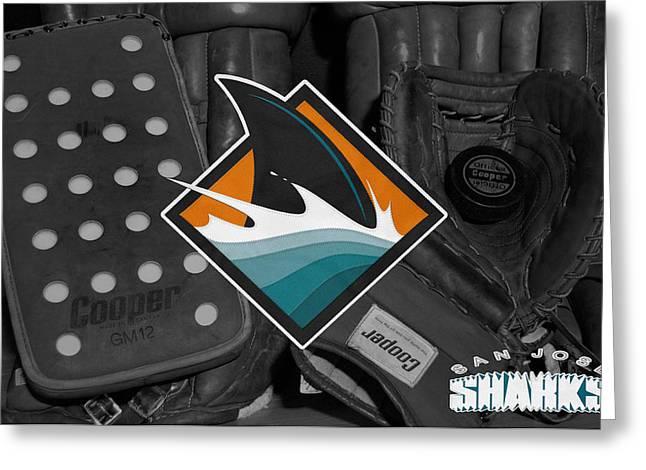 Presents Greeting Cards - San Jose Sharks Greeting Card by Joe Hamilton