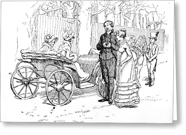 Literary Drawings Greeting Cards - Scene from Pride and Prejudice by Jane Austen Greeting Card by Hugh Thomson