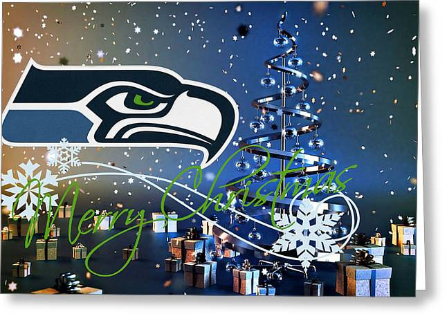 Offense Greeting Cards - Seattle Seahawks Greeting Card by Joe Hamilton