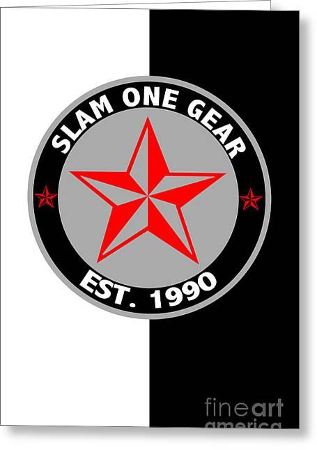 Slam Greeting Cards - Slam One Gear Greeting Card by James Eye