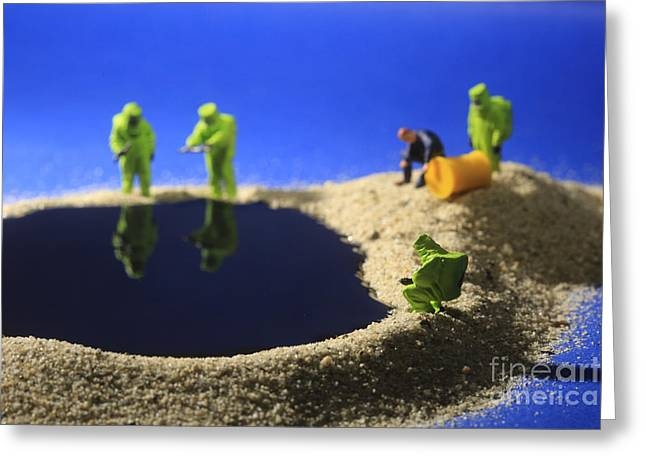 Hazmat Suit Greeting Cards - Tiny Miniature Scaled People in Curious Concepts Greeting Card by Katrina Brown