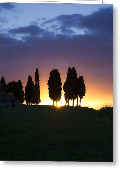 Backlit Greeting Cards - Tuscany - Val dOrcia Greeting Card by Joana Kruse