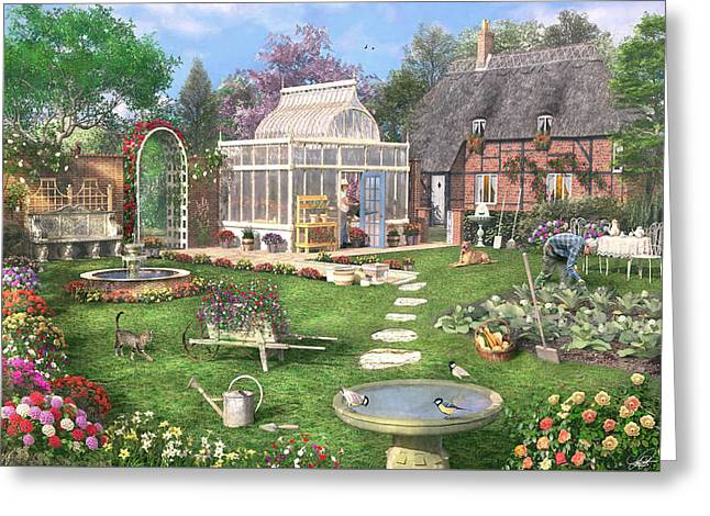 Shed Greeting Cards - The Cottage Garden Greeting Card by Dominic Davison
