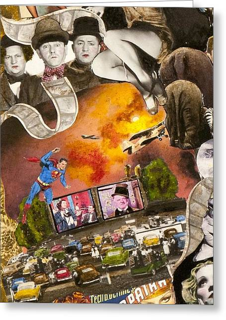 Gloria Mixed Media Greeting Cards - Three Stooges and Superman Greeting Card by Jonell Restivo