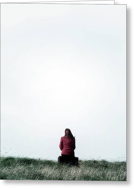 Waiting Girl Greeting Cards - Waiting Greeting Card by Joana Kruse