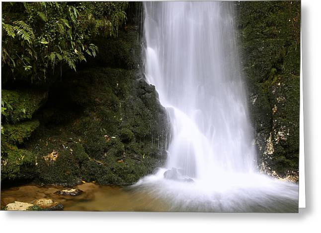 Abstract Rain Greeting Cards - Waterfall Greeting Card by Les Cunliffe