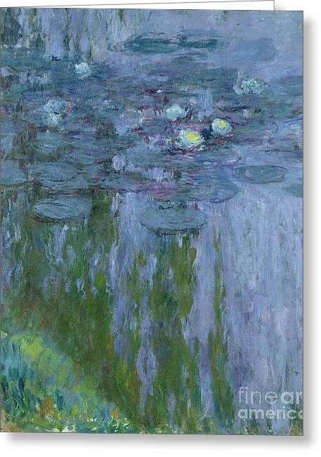 Lilly Pond Paintings Greeting Cards - Waterlilies Greeting Card by Claude Monet