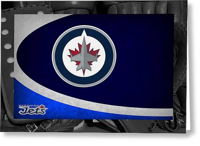 Jet Greeting Cards - Winnipeg Jets Greeting Card by Joe Hamilton