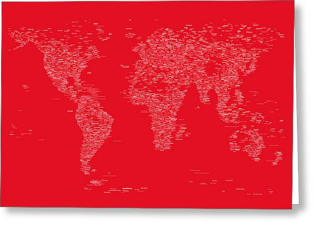 Cartography Digital Greeting Cards - World Map of Cities Greeting Card by Michael Tompsett