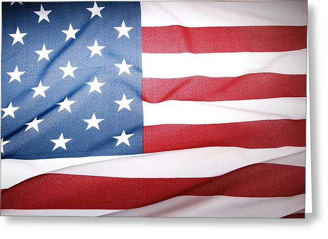 American Photographs Greeting Cards - American flag Greeting Card by Les Cunliffe