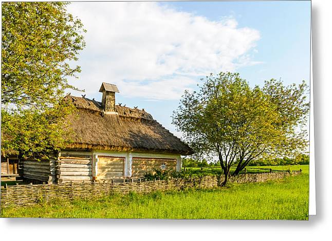 Historic Home Greeting Cards - A typical ukrainian antique house Greeting Card by Alain De Maximy