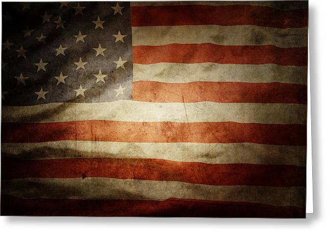 Symbolic Greeting Cards - American flag Greeting Card by Les Cunliffe