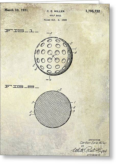 Golf Photographs Greeting Cards - Golf Ball Patent Drawing Greeting Card by Jon Neidert
