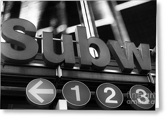 123 Greeting Cards - 123 Subway Line mono Greeting Card by John Rizzuto