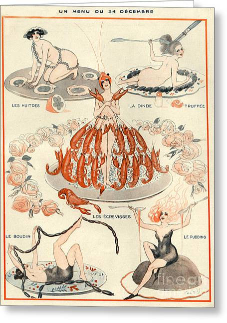 Banquet Greeting Cards - 1920s France La Vie Parisienne Magazine Greeting Card by The Advertising Archives