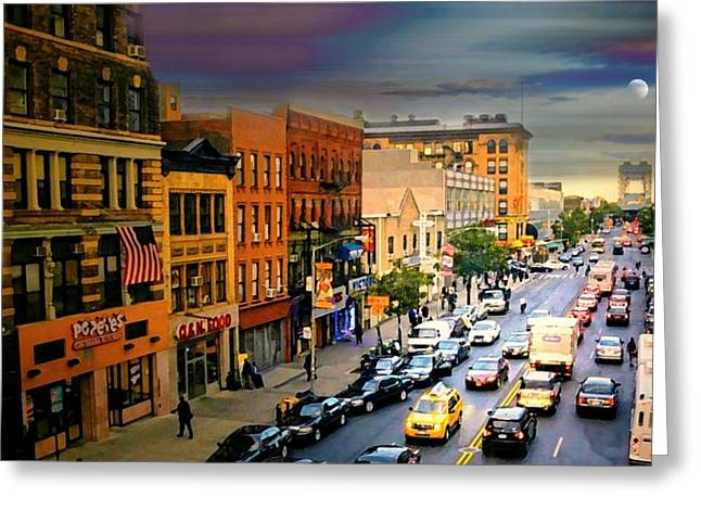 Store Fronts Greeting Cards - 125th Street Harlem Greeting Card by Diana Angstadt
