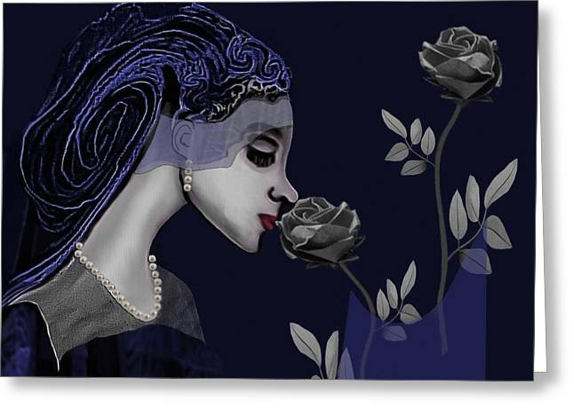 Gimp Greeting Cards - 126 - A Young Woman With Roses ... Greeting Card by Irmgard Schoendorf Welch