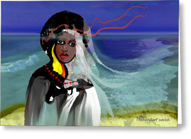 Pensive Digital Greeting Cards - 129 - Ocean Walk in stormy weather ... Greeting Card by Irmgard Schoendorf Welch