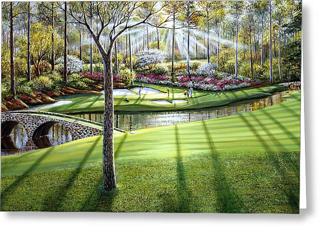 12th At Augusta National Greeting Card by Raymond Sipos