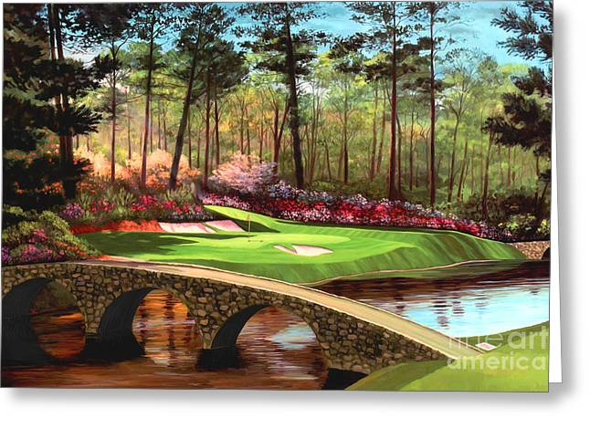 Club Greeting Cards - 12th hole at Augusta  Greeting Card by Tim Gilliland