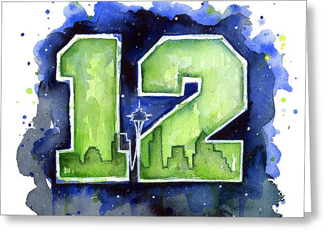 Shirt Greeting Cards - 12th Man Seahawks Art Seattle Go HAWKS Greeting Card by Olga Shvartsur