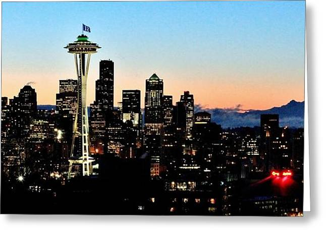 Seattle Skyline Greeting Cards - 12th Man Sunrise Greeting Card by Benjamin Yeager
