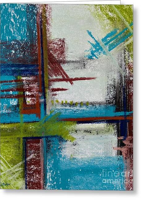 Contemporary Abstract Pastels Greeting Cards - Turquoise Waters Greeting Card by Tracy L Teeter