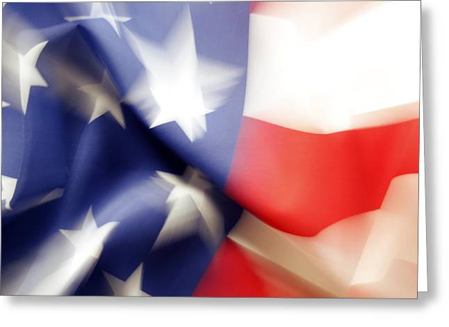 Abstract Movement Greeting Cards - American flag Greeting Card by Les Cunliffe