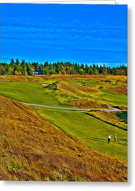 Us Open Greeting Cards - #13 at Chambers Bay Golf Course - Location of the 2015 U.S. Open Tournament Greeting Card by David Patterson