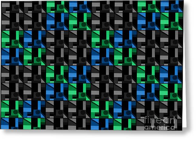 Tiled Tapestries - Textiles Greeting Cards - Tiled Graphics Blue Green and Black Greeting Card by Barbara Griffin