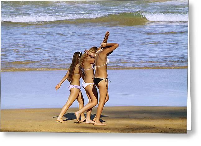 People Pyrography Greeting Cards - Beach people Greeting Card by Girish J