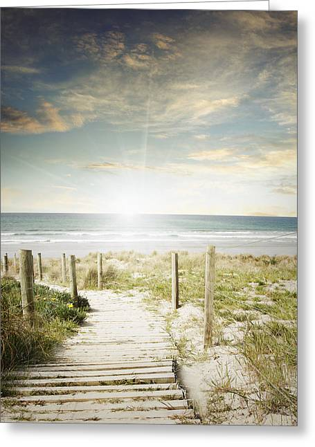 Sandy Beaches Greeting Cards - Beach view Greeting Card by Les Cunliffe