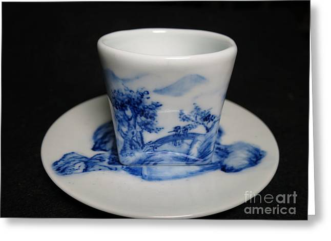 Ceramic Cup Ceramics Greeting Cards - Blue And White Porcelain Greeting Card by Champion Chiang