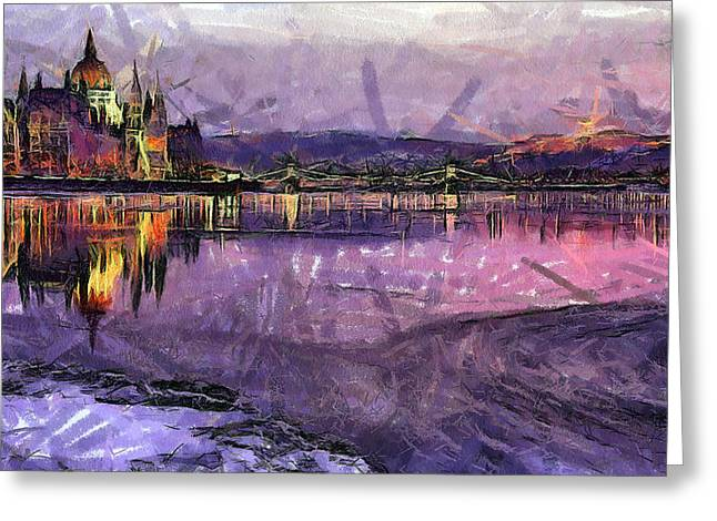 Exposure Paintings Greeting Cards - Budapest by night Greeting Card by Odon Czintos